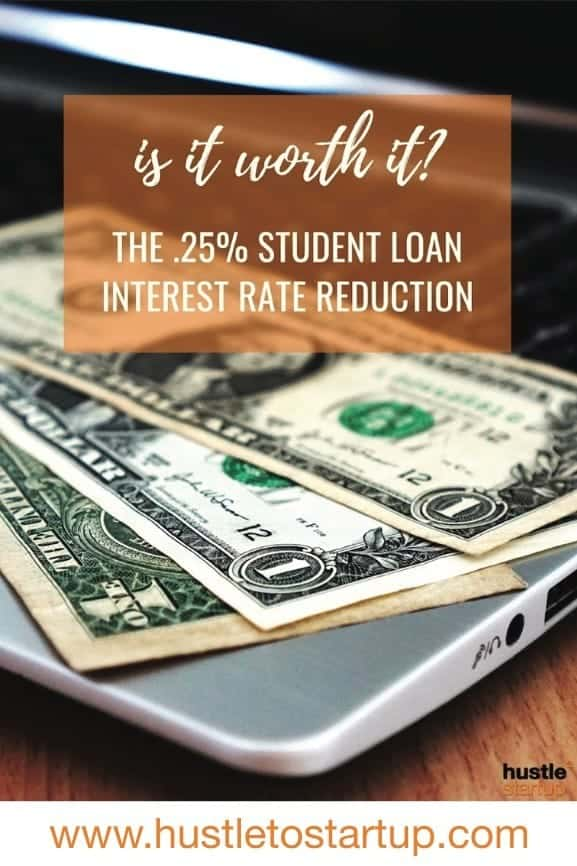 Is it worth refinancing your student loans for a lower interest rate? I calculate what it means to get a .25% reduction on my student loan rate. #studentloans #debtfree #interestrate