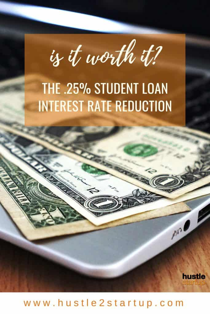 Is a .25% interest rate reduction worth it? Check how much you could save over the life of your student loans! #studentloans #debtreduction #savings