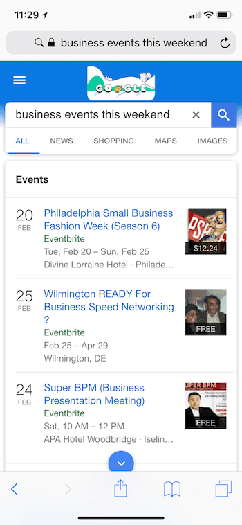 Event search in Google