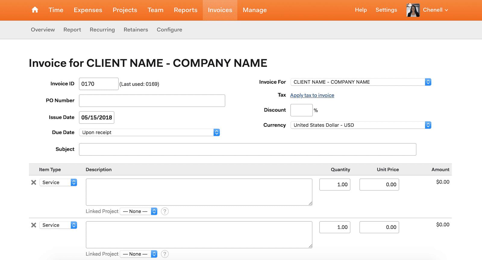 harvest app invoice