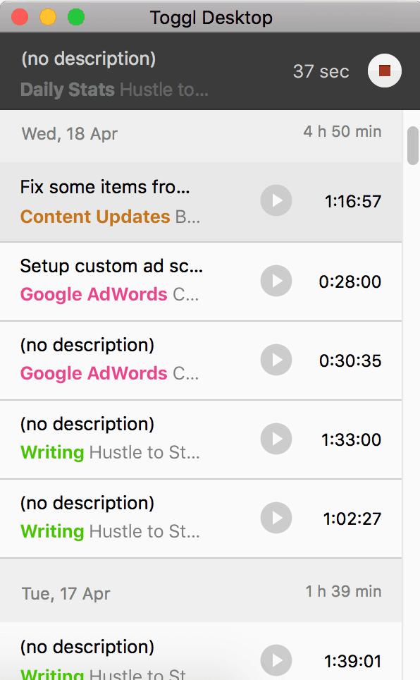toggl desktop time tracking